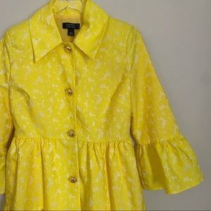HALOGEN x ATLANTIC PACIFIC yellow lace peplum coat